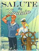 Nautical poster with happy crew — Vetorial Stock