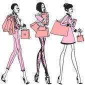 Girls with shopping bags — Stockvektor