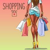 買い物袋を持つ女性 — ストックベクタ