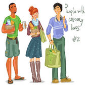 People with grocery bags — Vector de stock