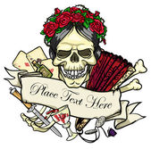 Day of the Dead, Skull and bones in roses — Stock Vector