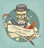 Gentleman's skull logo — Stock Vector
