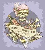 Flapper girl skull logo — Stock Vector