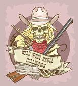 Cowgirl's skull logo — Stock Vector