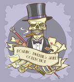 Millionaire's skull logo — Stock Vector
