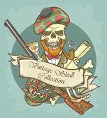 Gentleman's skull logo — Stok Vektör