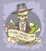 Gangster's skull logo — Stock Vector