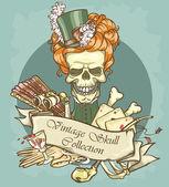 Lady's skull logo — Stock Vector