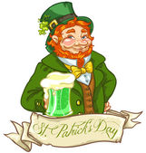 Leprechaun, Irish man with beer, St. Patrick's Day — Stock vektor