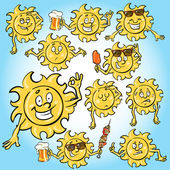 Cartoon Sun Icons — Stock Vector