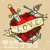 Heart Tattoo Design — Stock Vector