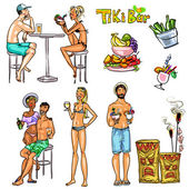 Tiki Bar Collection — Vettoriale Stock