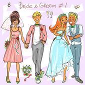 Wedding Couples — Stock Vector