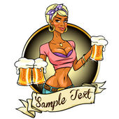 African American girl holding beer — Stock Vector