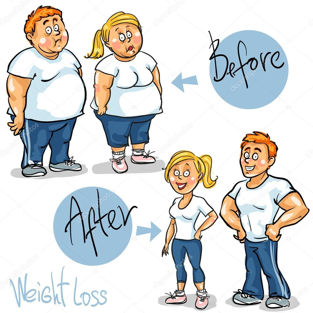 Man and Woman before and after weight loss program — Stock Vector ...