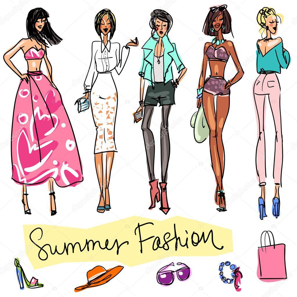 夏季时尚手绘涂鸦— vector