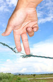 Hand and rope — Stock Photo