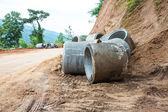 Concrete drainage pipe on a construction site in Thailand — Stock Photo