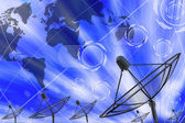 Satellite dish transmission data — 图库照片