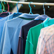 T-shirts with different colors and see which stitch and seam — Stock Photo