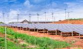 Solar energy panels on the mountain — Stock Photo