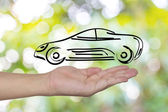 Hand showing design sketch car as concept — Stock Photo