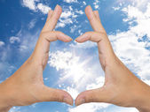 Two hand make heart sign — Stock Photo