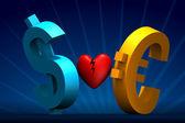 Dollar and Euro broken heart — Stock Photo