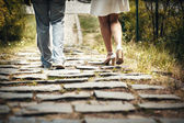 Сouple walking in park — Stock Photo