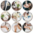 Wedding theme collage composed of different images on white back — Stock Photo #44353085