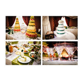 Collage of wedding reception on the white background — Stock Photo
