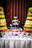 Fountain of wine at a luxury wedding reception in restaurant — Stock Photo
