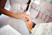Wedding ceremony in church. — Stock Photo