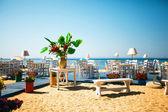 Restaurant terrace on beach — Stock Photo