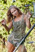 Military lady — Stock Photo