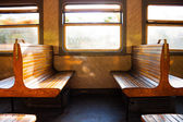 Couple of benches in train — Stockfoto