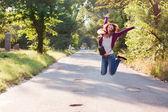 Girl in jump — Stock Photo