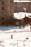 Snow in city — Stock Photo