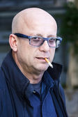 Hairless man with glasses  — Стоковое фото