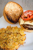 Hamburger with cheese tomatoes and onions — Stock Photo