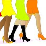 Women walking to the sales — Stock Vector