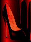 Blood red stiletto heel shoe — Stock Vector