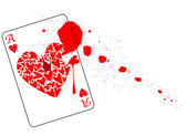 Ace of Hearts With Blood — Vector de stock