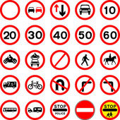 Road Signs - Red Round. — Stock Vector