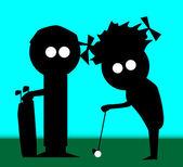 Golf Couple — Stock Vector