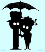 Couple In The Rain — Stock Vector