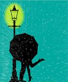 Lamppost In the Rain — Stockvektor