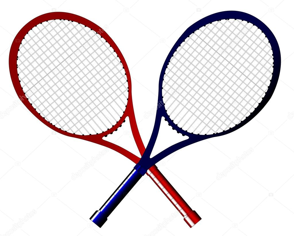 一双交叉的网球拍孤立在一个白色的背景