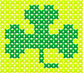 Cross Stitch Shamrock — Stock Vector