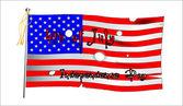 Battle torn flag — Stock Vector